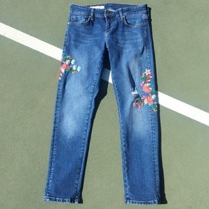 Anthropology Embroidered Floral Jeans Pilcro